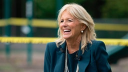 Jill Biden, the wife of Democratic presidential candidate Joe Biden, speaks during a Back to School Tour at Shortlidge Academy in Wilmington, Delaware, on September 1, 2020.