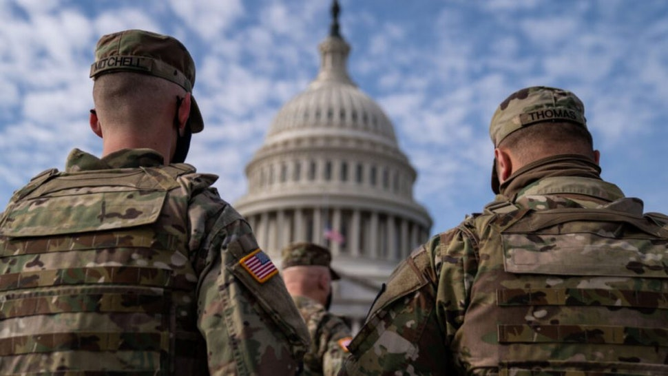 Members of the National Guard in the plaza in front of the U.S. Capitol Building on Sunday, Jan. 17, 2021 in Washington, DC.