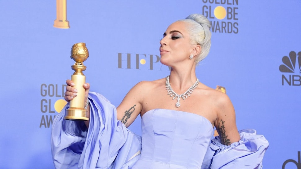 BEVERLY HILLS, CALIFORNIA - JANUARY 06: Winner for Best Original Song - Motion Picture for 'Shallow - A Star is Born' Lady Gaga poses with the trophy in the press room during the 76th Annual Golden Globe Awards at The Beverly Hilton Hotel on January 6, 2019 in Beverly Hills, California. (Photo by George Pimentel/WireImage)