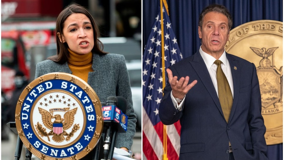 Photo of Alexandria Ocasio-Cortez by JOHANNES EISELE/AFP via Getty Images. Photo of Andrew Cuomo by Jeenah Moon/Bloomberg via Getty Images