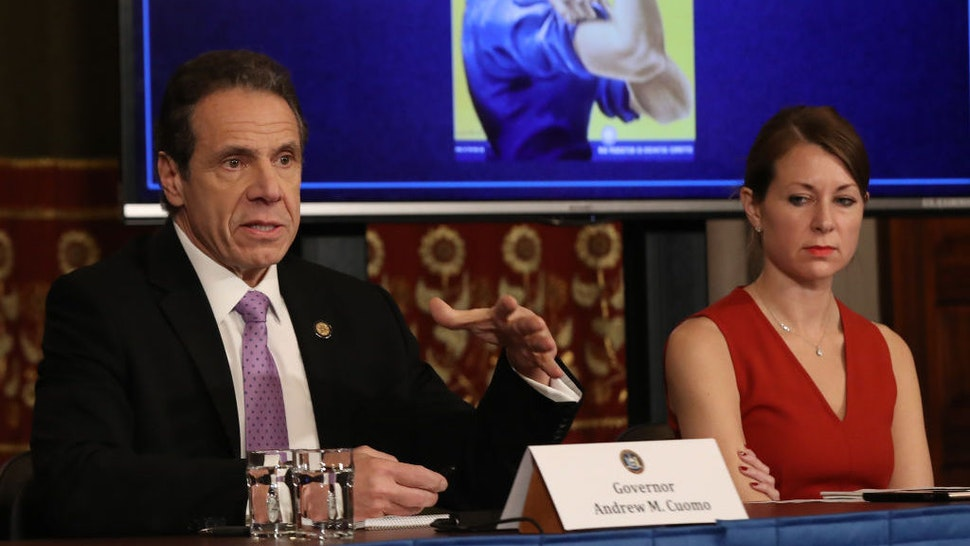 NEW YORK, NEW YORK - MARCH 20: New York Governor Andrew Cuomo (L) speaks during his daily news conference with Secretary to the Governor Melissa DeRosa (R) on March 20, 2020 in New York City. Cuomo ordered nonessential businesses to keep 100% of their workforce at home in an effort to combat the spread of the COVID-19 pandemic. (Photo by Bennett Raglin/Getty Images)