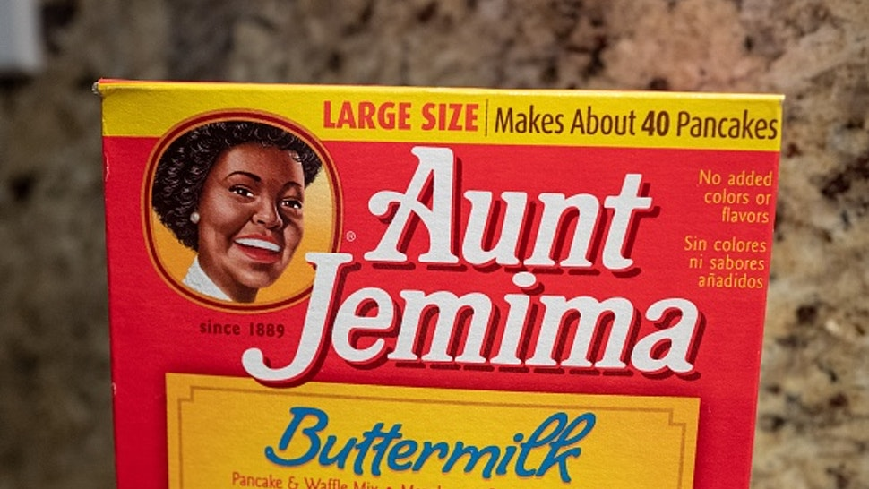 Close-up of Aunt Jemima brand buttermilk pancake mix in kitchen setting, San Ramon, California, November 20, 2020.