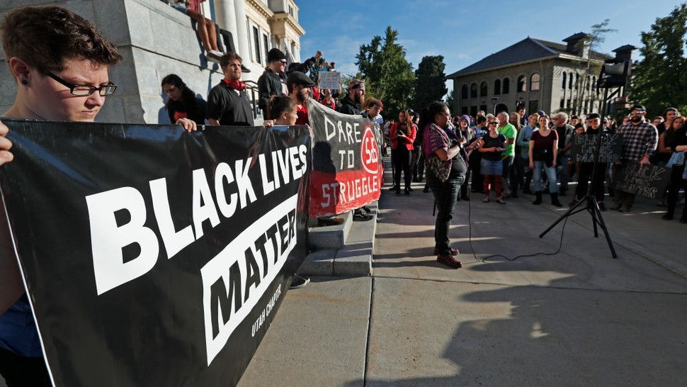 Protesters from Students For a Democratic Society and Black Lives Matter demonstrate on the University of Utah campus against an event where right wing writer and commentator Ben Shapiro is speaking on September 27, 2017 in Salt Lake City, Utah.