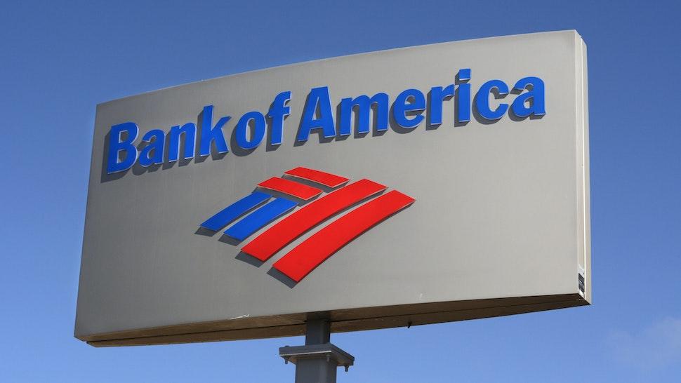 SANTA FE, NEW MEXICO - APRIL 24, 2019: A business sign outside a Bank of America bank in Santa Fe, New Mexico.