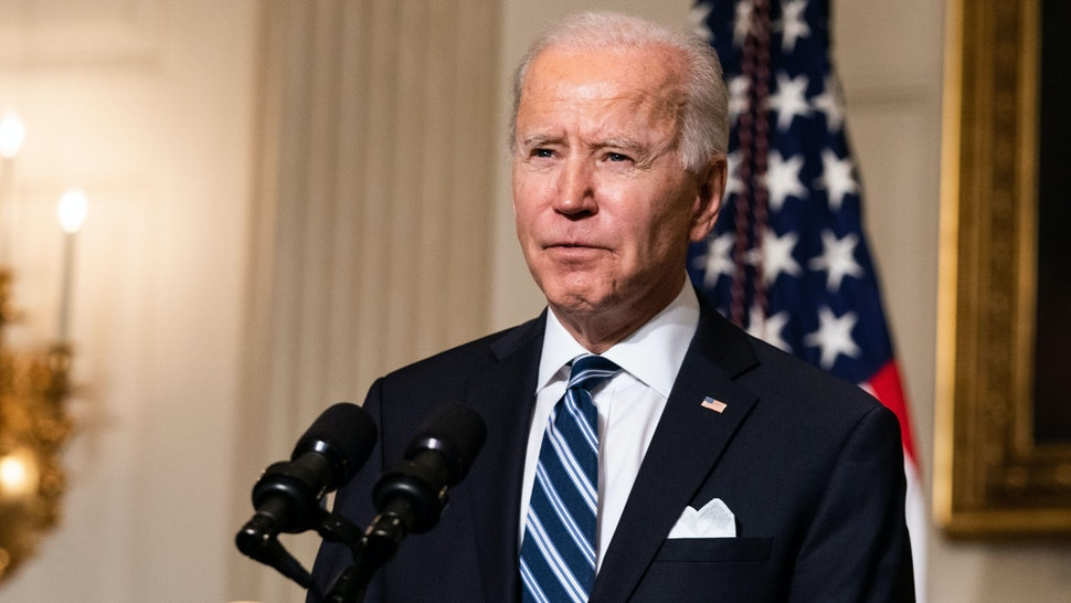 WASHINGTON, DC - JANUARY 27: U.S. President Joe Biden speaks about climate change issues in the State Dining Room of the White House on January 27, 2021 in Washington, DC. President Biden signed several executive orders related to the climate change crisis on Wednesday, including one directing a pause on new oil and natural gas leases on public lands.
