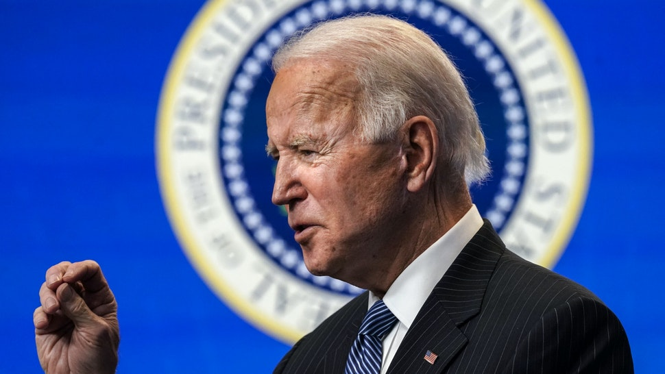 WASHINGTON, DC - JANUARY 25: U.S. President Joe Biden speaks before signing an executive order related to American manufacturing in the South Court Auditorium of the White House complex on January 25, 2021 in Washington, DC. President Biden signed an executive order aimed at boosting American manufacturing and strengthening the federal government's Buy American rules.