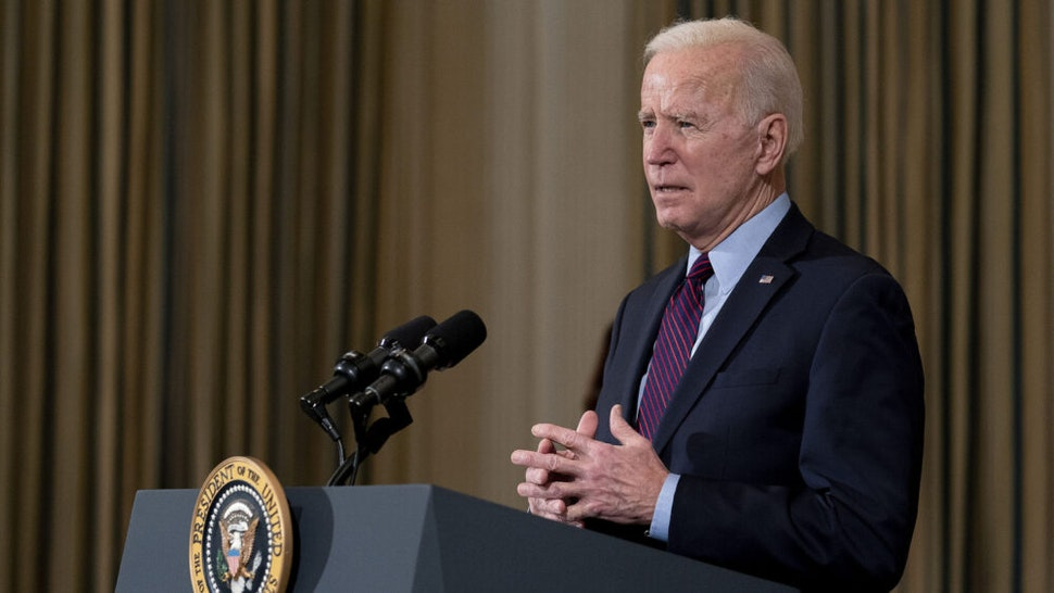 WASHINGTON, DC - FEBRUARY 05: U.S. President Joe Biden delivers remarks on the national economy and the need for his administration's proposed $1.9 trillion coronavirus relief legislation in the State Dining Room at the White House on February 05, 2021 in Washington, DC. Biden hosted lawmakers from both parties at the White House this week in an effort to push his pandemic relief plan forward.