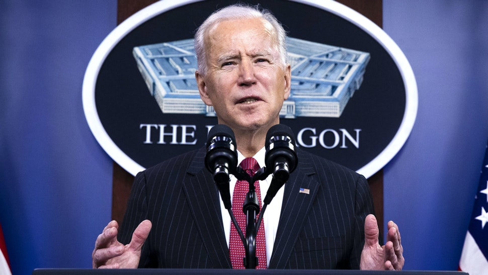 U.S. President Joe Biden speaks at the Pentagon in Arlington, Virginia, U.S., on Wednesday, Feb. 10, 2021. Biden today said his administration will sanction military leaders in Myanmar linked to this month's coup and will ensure the country's military leadership can't access about $1 billion in government funds held in the U.S.