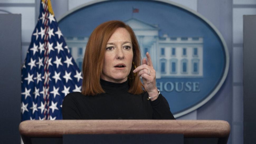 Jen Psaki, White House press secretary, speaks during a news conference in the James S. Brady Press Briefing Room at the White House in Washington, D.C., U.S., on Wednesday, Feb. 3, 2021.