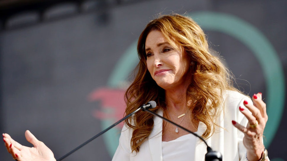 LOS ANGELES, CALIFORNIA - JANUARY 18: Caitlyn Jenner speaks at the 4th annual Women's March LA: Women Rising at Pershing Square on January 18, 2020 in Los Angeles, California.