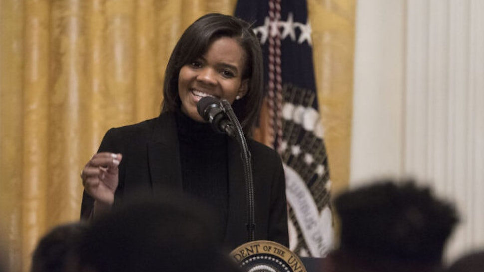 Political commentator Candace Owens introduces U.S. President Donald Trump, not pictured, during the Young Black Leadership Summit 2019 event in the East Room of the White House in Washington, D.C., U.S., on Friday, Oct. 4, 2019. Two outside groups that support Trump have raised $6.9 million since House Democrats announced their impeachment inquiry last week. Photographer: Sarah Silbiger/Bloomberg