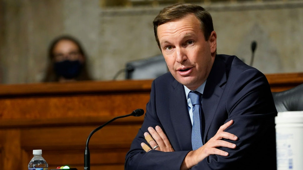 Sen. Chris Murphy, D-Conn., speaks during a Senate Foreign Relations Committee hearing on Capitol Hill in Washington, Thursday, Sept. 24, 2020, on U.S. policy in a changing Middle East. (AP Photo/Susan Walsh, Pool)