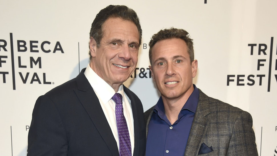 """NEW YORK, NY - APRIL 26: New York Governor Andrew Cuomo and Chris Cuomo attend the HBO Documentary Film """"RX: Early Detection A Cancer Journey With Sandra Lee"""" during The Tribeca Film Festival at SVA Theater on April 26, 2018 in New York City."""