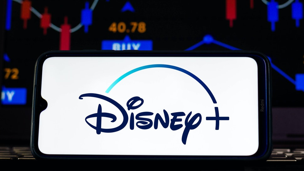 BRAZIL - 2021/02/12: In this photo illustration the Disney+ (Plus) logo seen displayed on a smartphone screen.