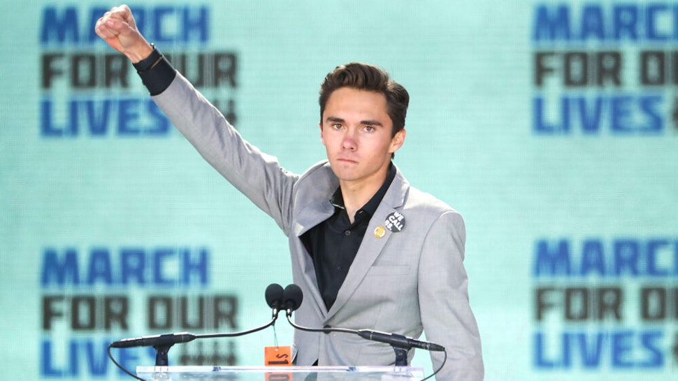 WASHINGTON, DC - MARCH 24: Marjory Stoneman Douglas High School Student David Hogg addresses the March for Our Lives rally on March 24, 2018 in Washington, DC. Hundreds of thousands of demonstrators, including students, teachers and parents gathered in Washington for the anti-gun violence rally organized by survivors of the Marjory Stoneman Douglas High School shooting on February 14 that left 17 dead. More than 800 related events are taking place around the world to call for legislative action to address school safety and gun violence.