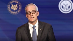 WILMINGTON, DELAWARE - DECEMBER 11: Former Obama White House Chief of Staff Denis McDonough delivers remarks after being introduced as U.S. President-elect Joe Biden's nominee to head the Department of Veterans Affairs at the Queen Theater on December 11, 2020 in Wilmington, Delaware.