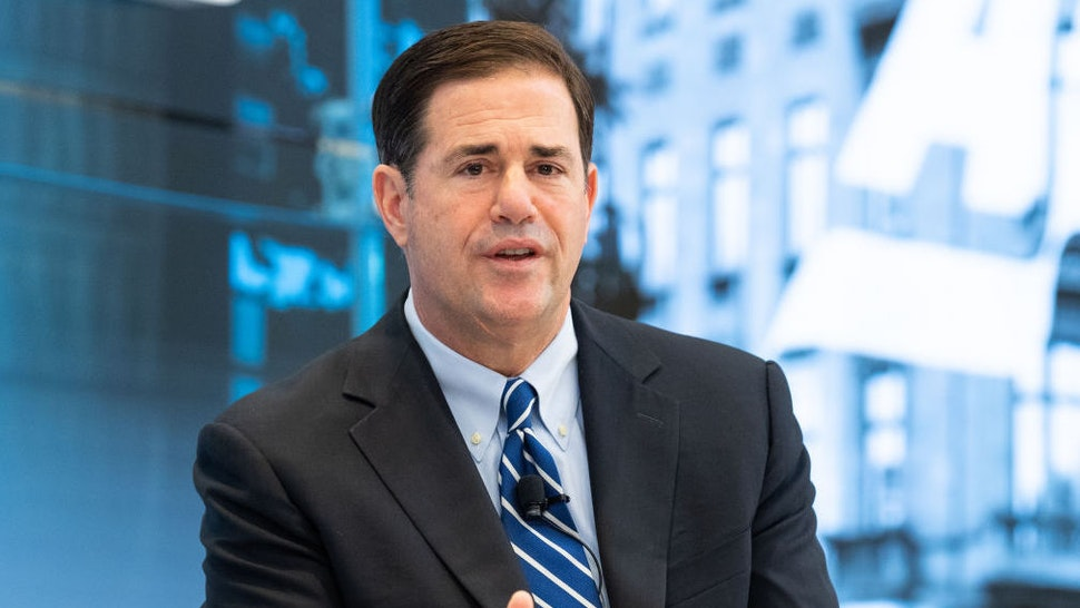 WASHINGTON, DC, UNITED STATES - 2018/06/07: Governor Doug Ducey (R-AZ) discussing the opioid crisis and foster care families and policies to protect children and treat parents at the American Enterprise Institute in Washington