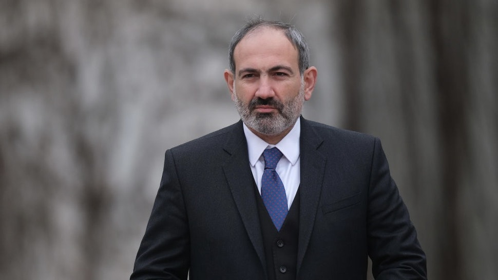 BERLIN, GERMANY - FEBRUARY 01: Armenian Prime Minister Nikol Pashinyan arrives to meet German Chancellor Angela Merkel at the Chancellery on February 01, 2019 in Berlin, Germany. Pashinyan is in Berlin to meet with Merkel, President Steinmeier and Bundestag President Schäuble. (Photo by Sean Gallup/Getty Images)