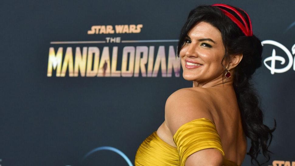 "LOS ANGELES, CALIFORNIA - NOVEMBER 13: Gina Carano attends the premiere of Disney+'s ""The Mandalorian"" at El Capitan Theatre on November 13, 2019 in Los Angeles, California."