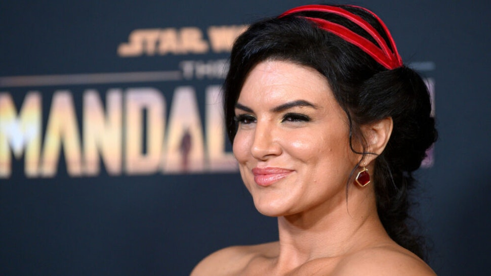 "US actress Gina Carano arrives for Disney+ World Premiere of ""The Mandalorian"" at El Capitan theatre in Hollywood on November 13, 2019."