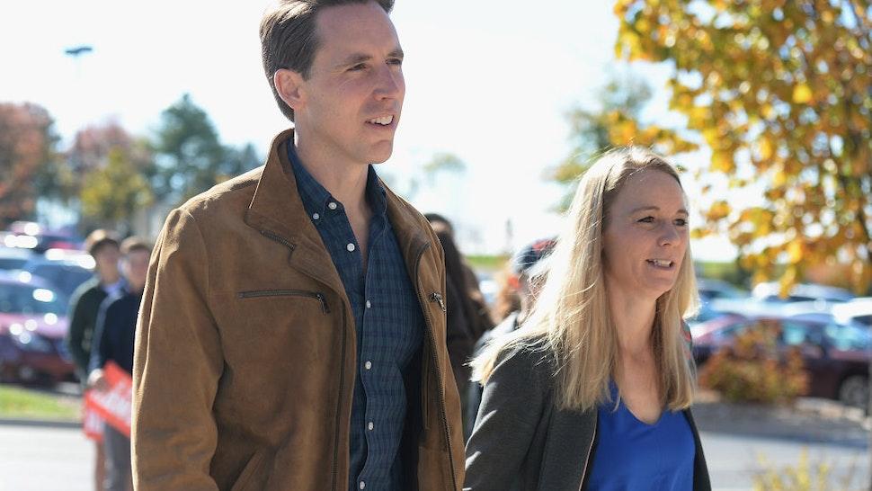 Missouri's Republican U.S. Senate Candidate Josh Hawley arrives with his wife, Erin Hawley