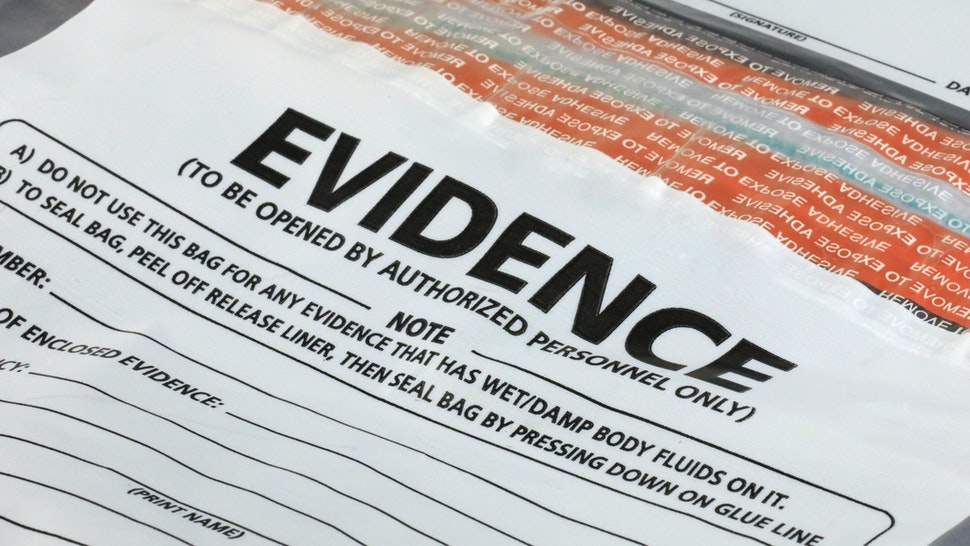 Evidence container for crime scene investigation - stock photo