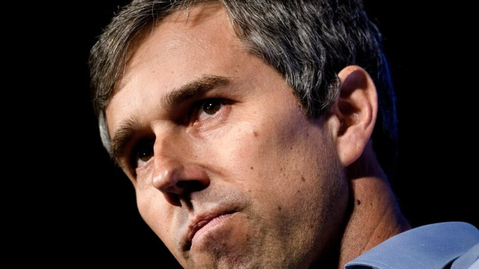 """Beto O'Rourke, a 2020 US presidential hopeful, speaks during the """"We the People"""" gathering at the Warner Theatre on April 1, 2019, in Washington, DC."""