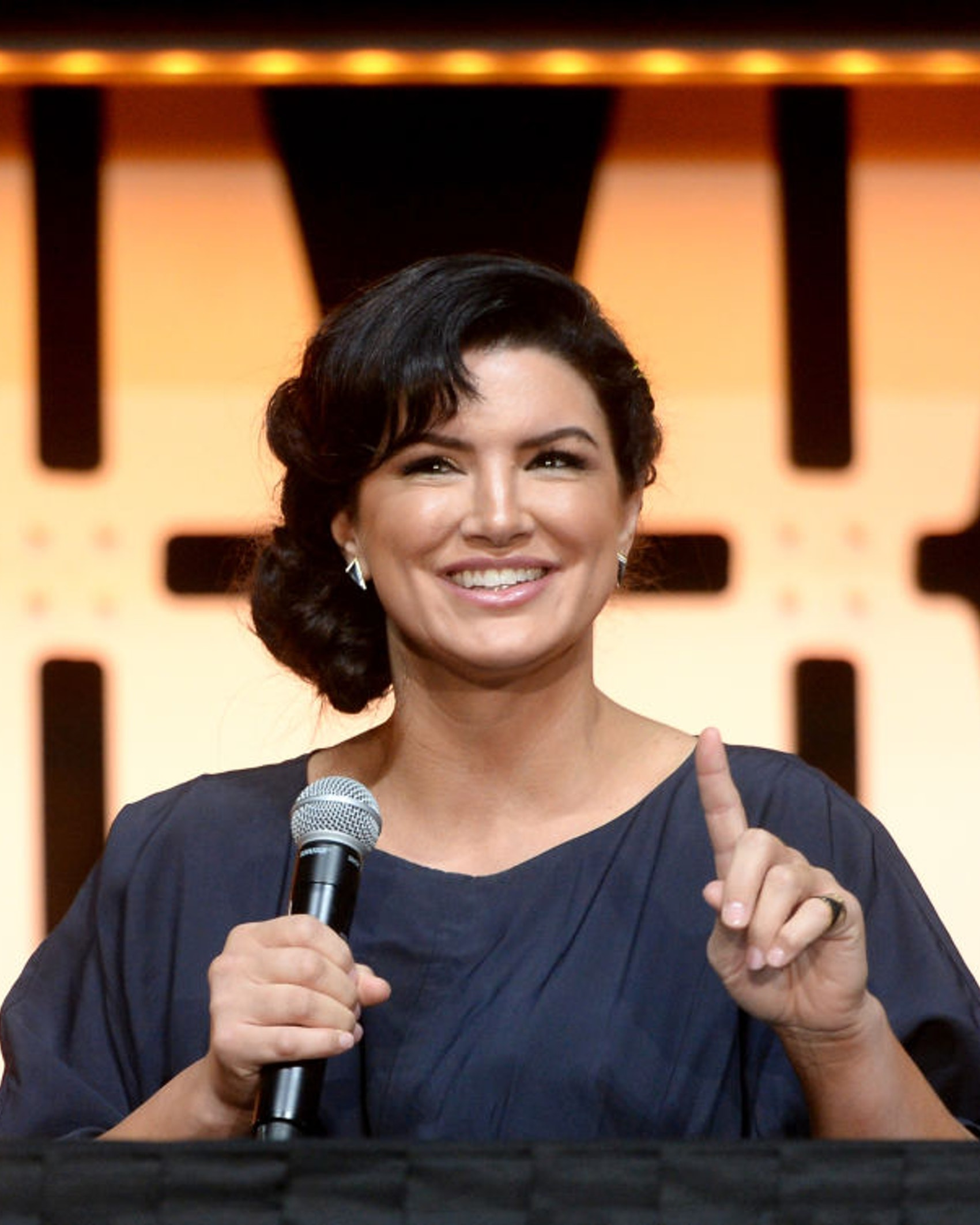 "CHICAGO, IL - APRIL 14: Gina Carano (Cara Dune) onstage during ""The Mandalorian"" panel at the Star Wars Celebration at McCormick Place Convention Center on April 14, 2019 in Chicago, Illinois. (Photo by Daniel Boczarski/WireImage for Disney)"