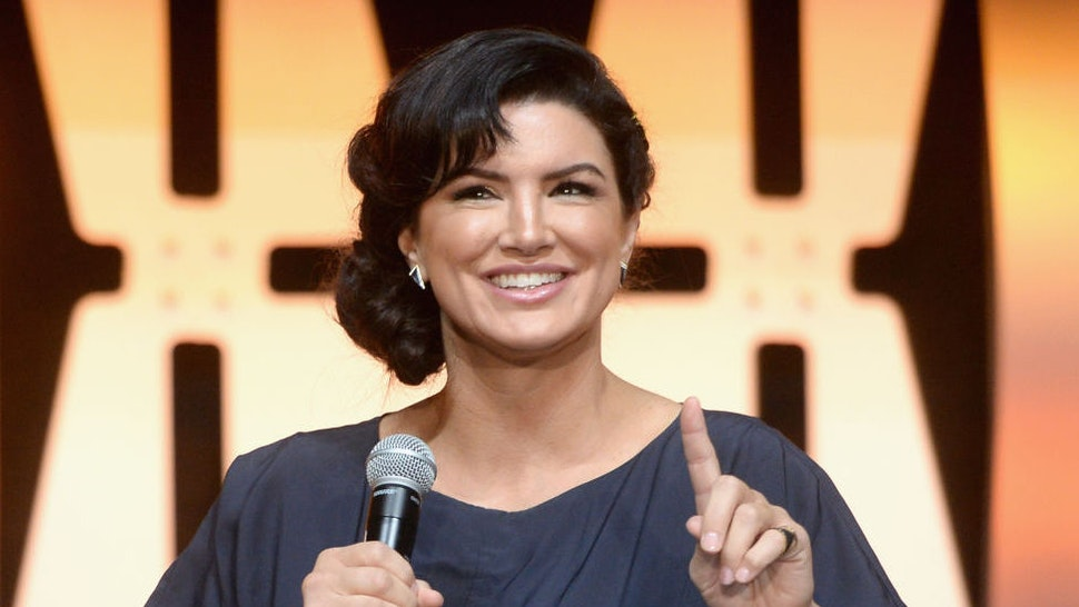 """CHICAGO, IL - APRIL 14: Gina Carano (Cara Dune) onstage during """"The Mandalorian"""" panel at the Star Wars Celebration at McCormick Place Convention Center on April 14, 2019 in Chicago, Illinois. (Photo by Daniel Boczarski/WireImage for Disney)"""