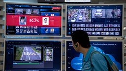 SHENZHEN, CHINA - APRIL 26: A display for facial recognition and artificial intelligence is seen on monitors at Huawei's Bantian campus on April 26, 2019 in Shenzhen, China. Huawei is Chinas most valuable technology brand, and sells more telecommunications equipment than any other company in the world, with annual revenue topping $100 billion U.S. Headquartered in the southern city of Shenzhen, considered Chinas Silicon Valley, Huawei has more than 180,000 employees worldwide, with nearly half of them engaged in research and development. In 2018, the company overtook Apple Inc. as the second largest manufacturer of smartphones in the world behind Samsung Electronics, a milestone that has made Huawei a source of national pride in China.