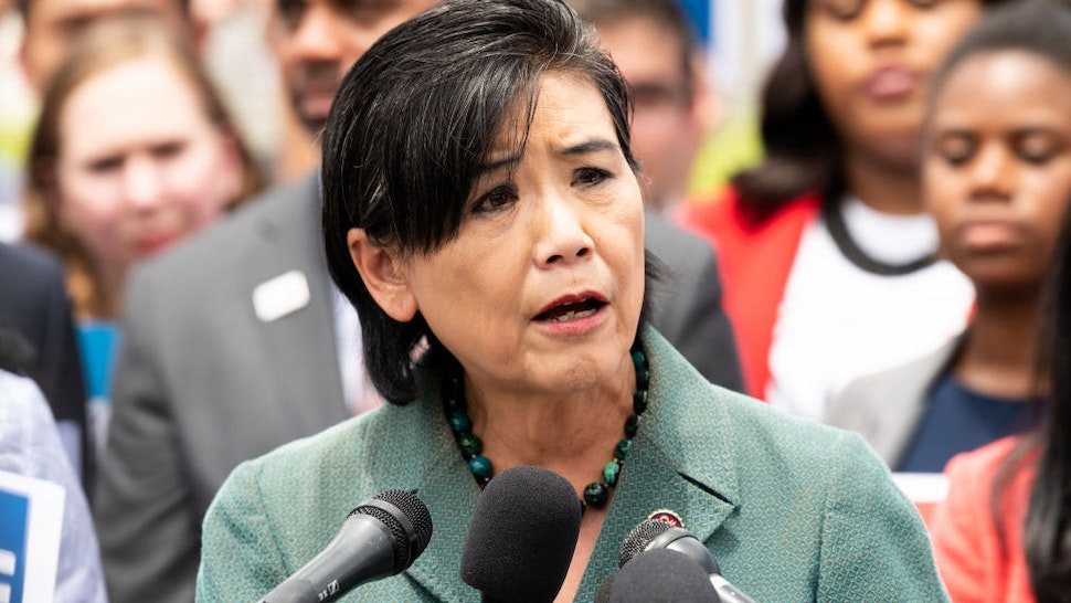 """U.S. Representative Judy Chu (D-CA) speaking at a rally at the U.S. Capitol for H.R.4, the """"Voting Rights Advancement Act of 2019""""."""