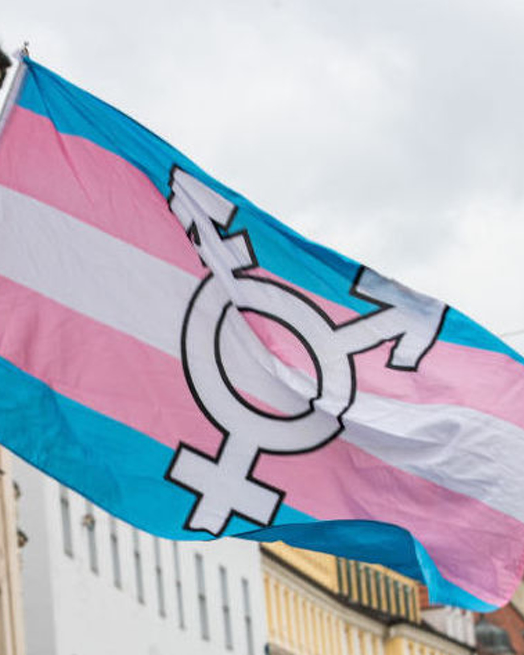 Trans Flag. On 13.7.2019 Hundreds of Thousands celebrated the Pride ( Christopher Street Day ) in Munich. Several LGBTQ Groups participated. (Photo by Alexander Pohl/NurPhoto)
