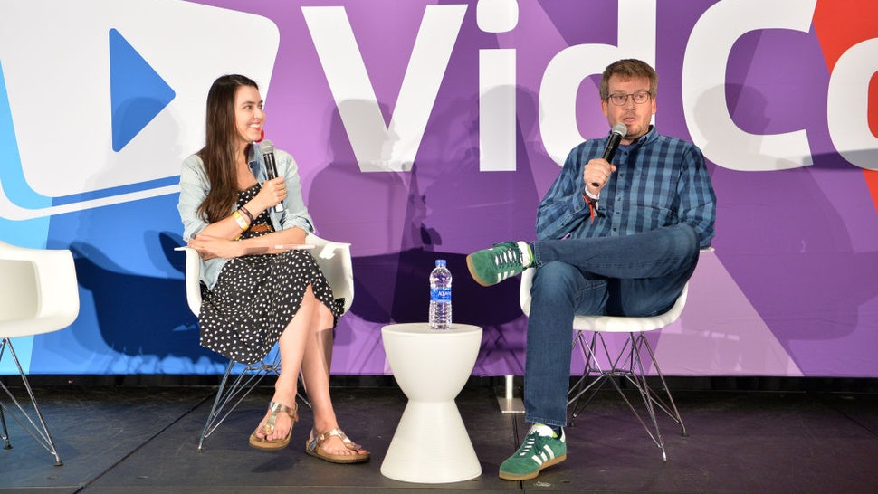 Taylor Lorenz and John Green attend VidCon 2019 at Anaheim Convention Center on July 13, 2019 in Anaheim, California.