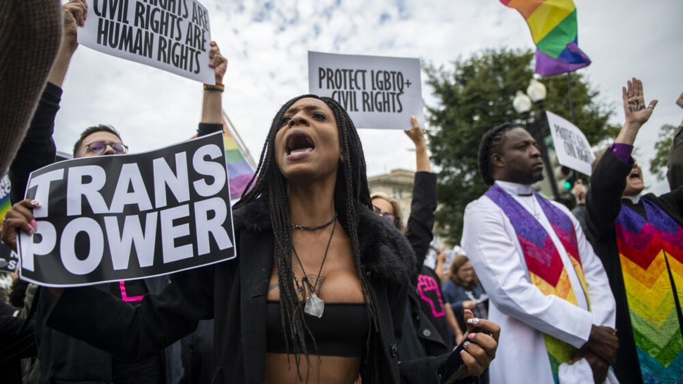 UNITED STATES - OCTOBER 8: Protesters block the street in front of the Supreme Court as it hears arguments on whether gay and transgender people are covered by a federal law barring employment discrimination on the basis of sex on Tuesday, Oct. 8, 2019.