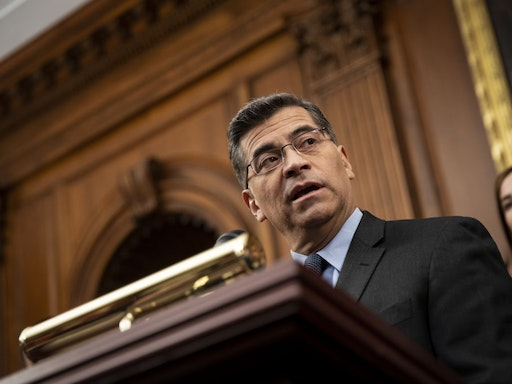Xavier Becerra, California's attorney general, speaks during a news conference on Capitol Hill in Washington, D.C., U.S., on Tuesday, Nov. 12, 2019. U.S. Supreme Court justices seemed inclined to let PresidentDonald Trumpcancel an Obama-era program that shields almost 700,000 young undocumented immigrants from deportation in a case with broad political and humanitarian ramifications. Photographer: Al Drago/Bloomberg via Getty Images