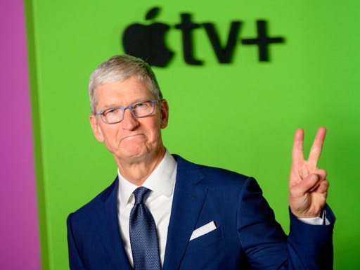 """NEW YORK, NEW YORK - OCTOBER 28: Apple CEO Tim Cook attends Apple TV+'s """"The Morning Show"""" world premiere at David Geffen Hall on October 28, 2019 in New York City."""
