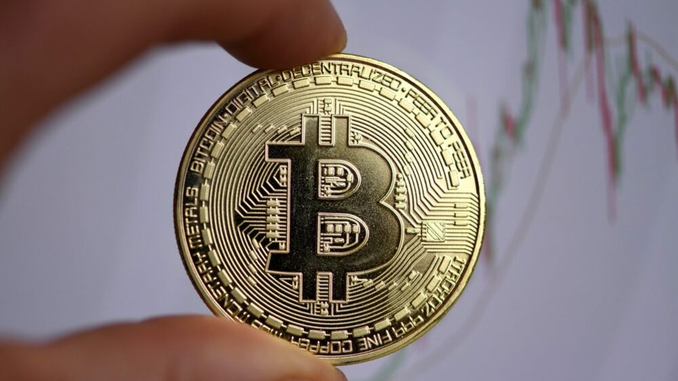 The photo shows a physical imitation of a Bitcoin in Dortmund, western Germany, on January 27, 2020.