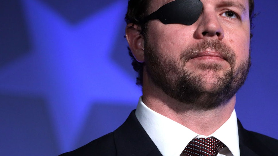 "NATIONAL HARBOR, MARYLAND - FEBRUARY 26: U.S. Rep. Dan Crenshaw (R-TX) speaks on ""The Fate of Our Culture and Our Nation Hangs in the Balance"" during the CPAC Direct Action Training at the annual Conservative Political Action Conference at Gaylord National Resort & Convention Center February 26, 2020 in National Harbor, Maryland. U.S. President Donald Trump is expected to address the annual event on February 29th. (Photo by Alex Wong/Getty Images)"