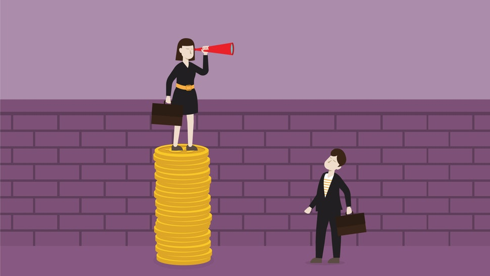 Businesswoman with a telescope stands on a stack of the coin for looking over the wall - stock vector