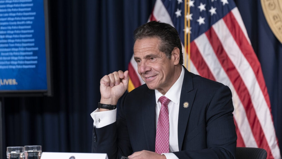 NEW YORK, UNITED STATES - 2020/09/29: New York State Governor Andrew Cuomo holds daily media announcement and briefing at 633 3rd Avenue, Manhattan. Governor discussed Stabilization and Recovery Program for the state as well as uptick of positive infections in some areas of the state. Governor Andrew Cuomo announced that he will meet with Orthodox Jewish leaders to address COVID-19 clusters in communities downstate. He emphasized importance of wearing masks, social distances and enforcement of compliance.