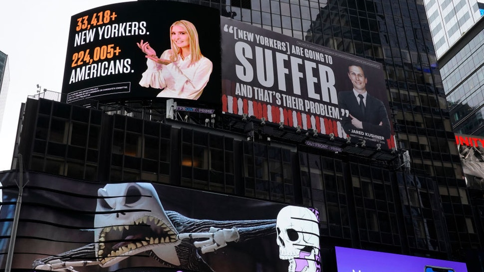 A billboard by The Lincoln Project is seen in Times Square on October 25, 2020 in New York, depicting Ivanka Trump presenting the number of New Yorkers and Americans who have died due to Covid-19 along with her husband Senior Advisor to the President Jared Kushner, with a Vanity Fair quote. - The Lincoln Project, is defending its right to erect billboards in Times Square critical of Ivanka Trump and Jared Kushner,after an attorney for President Trump's daughter and her husband threatened to sue. (Photo by TIMOTHY A. CLARY / AFP) (Photo by TIMOTHY A. CLARY/AFP via Getty Images)
