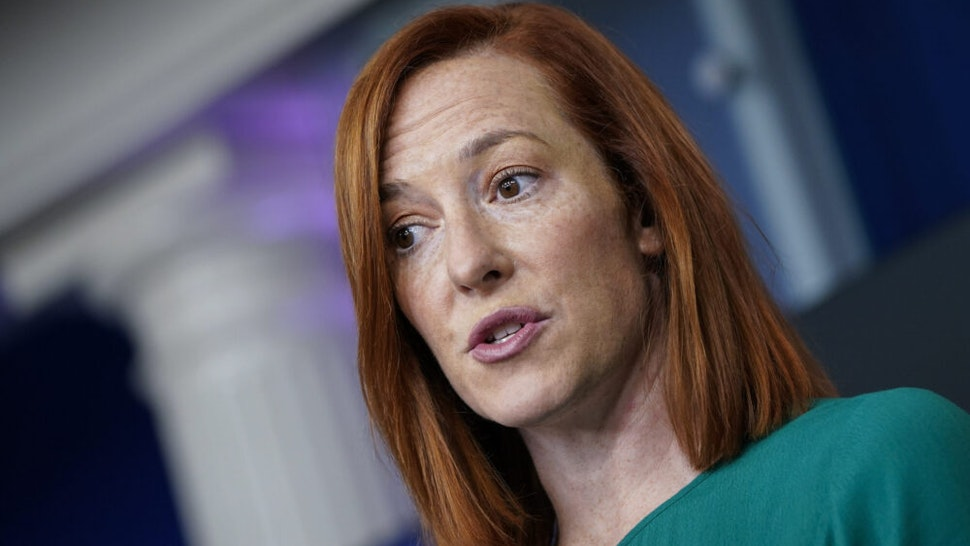 """WASHINGTON, DC - JANUARY 25: White House Press Secretary Jen Psaki speaks during a daily press briefing at the White House on January 25, 2021 in Washington, DC. Later on Monday afternoon, President Joe Biden will sign an executive order aimed at boosting American manufacturing and strengthening the federal government's """"Buy American"""" rules."""