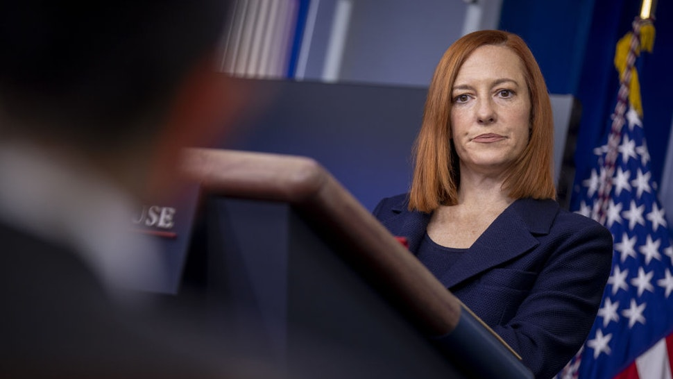 Jen Psaki, White House press secretary, listens during a news conference in the James S. Brady Press Briefing Room at the White House in Washington, D.C., U.S., on Friday, Jan. 29, 2021.