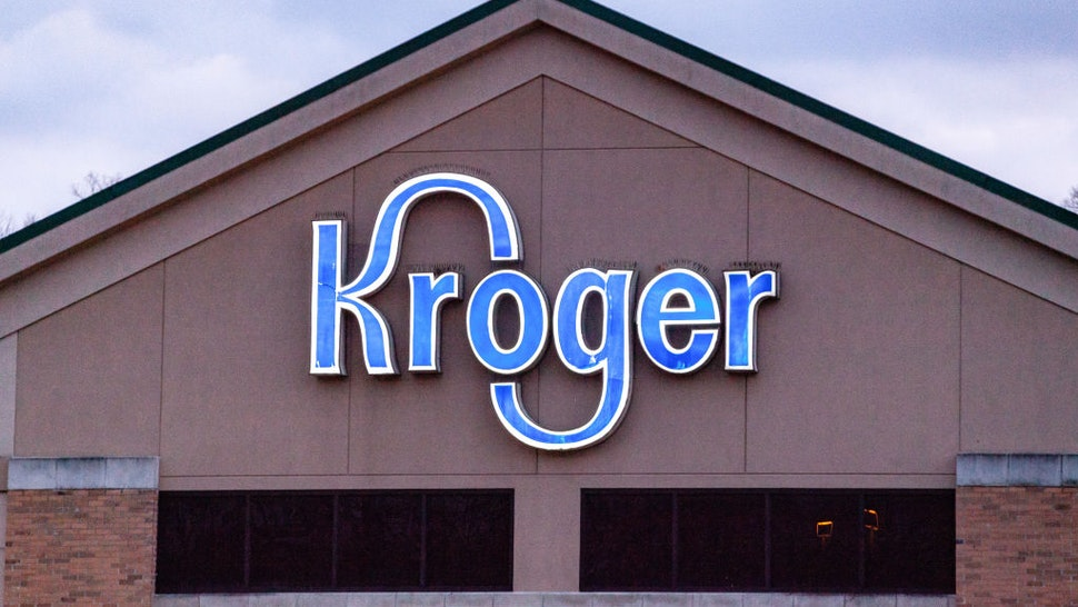 Kroger logo is seen at one of their stores in Athens. Businesses that line East State Street in Athens, Ohio, an Appalachian community in southeastern Ohio.