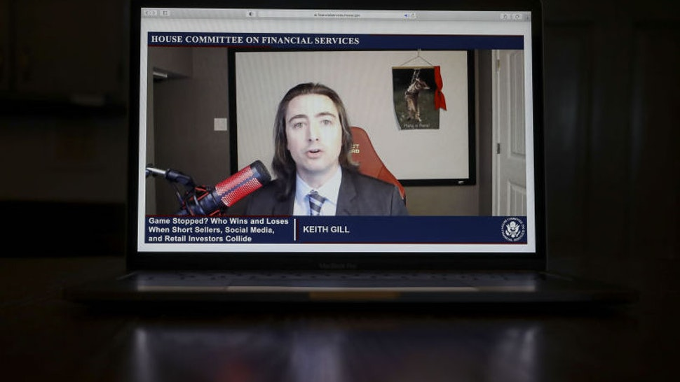 Keith Gill, a Reddit user credited with inspiring GameStop's rally, speaks virtually during a House Financial Services Committee hearing on a laptop computer in Tiskilwa, Illinois, U.S., on Thursday, Feb. 18, 2021.