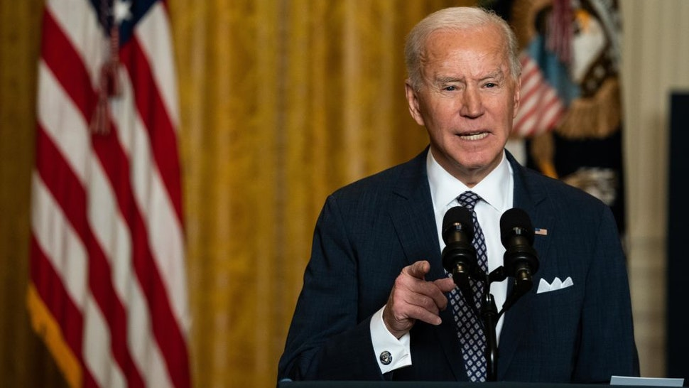 U.S. President Joe Biden speaks while addressing the virtual Munich Security Conference in the East Room of the White House in Washington, D.C., U.S., on Friday, Feb. 19, 2021. Biden re-introduced himself and the U.S. to world leaders at a pair of international conferences today, calling on industrialized democracies to partner in confronting the pandemic and climate change in a sharp departure from his predecessor's foreign policy.