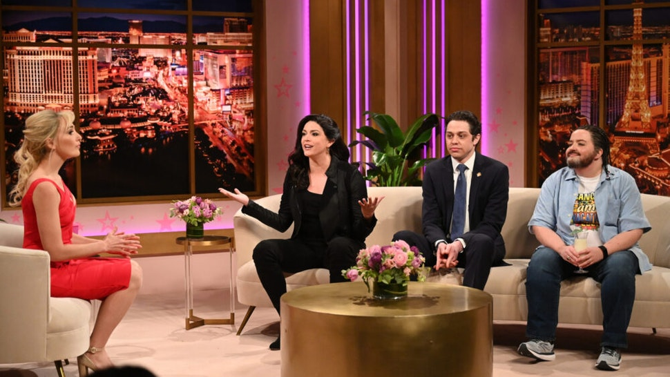 """SATURDAY NIGHT LIVE -- """"Regé-Jean Page"""" Episode 1798 -- Pictured: (l-r) Chloe Fineman as Britney Spears, Cecily Strong as Gina Carano, Pete Davidson as Andrew Cuomo, and Aidy Bryant as Ted Cruz during the """"Britney Spears"""" Cold Open on Saturday, February 20, 2021"""