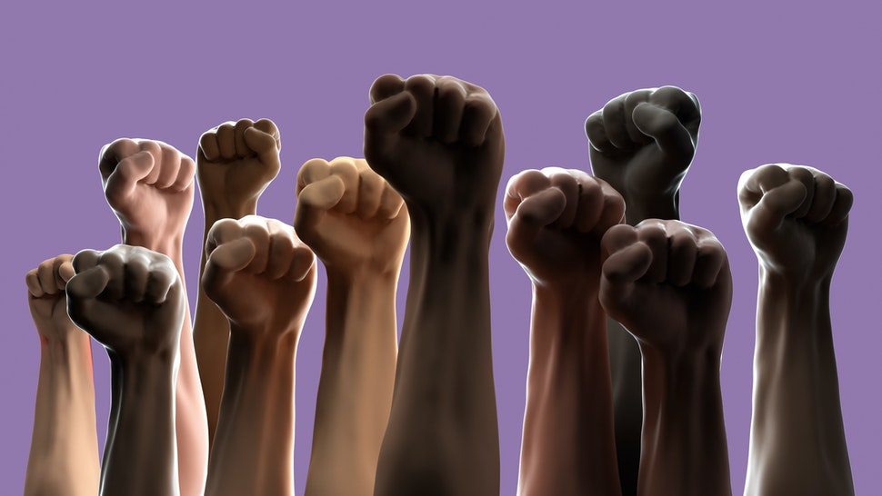Digital generated image of multi-ethnic arms raised in the air on purple background.