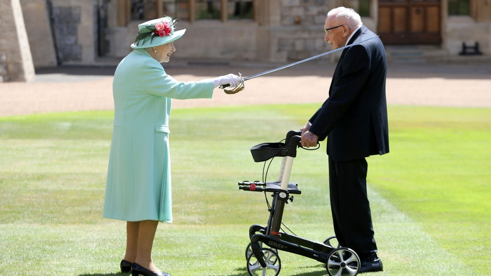 The Queen Confers The Honour Of Knighthood On Captain Sir Thomas Moore