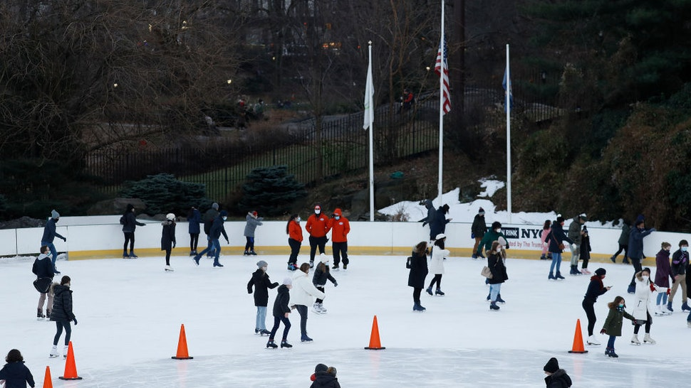 People skate at Wollman Rink in Central Park on December 27, 2020 in New York City.